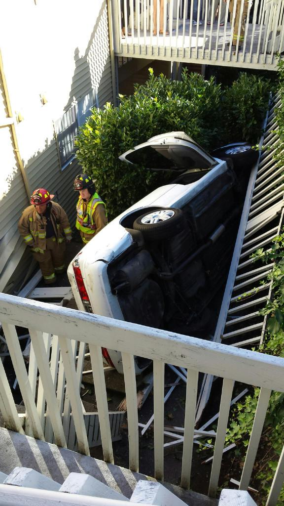 The driver was not injured in a Friday morning accident at a Mountlake Terrace apartment complex. (Photo courtesy of Lynnwood Fire Department)