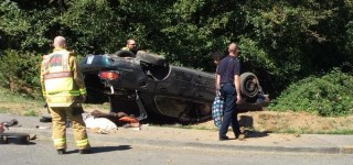No injuries in one-car rollover accident