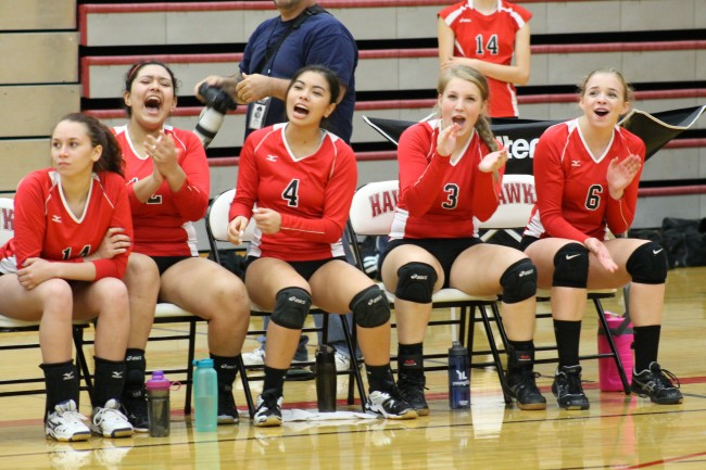 The Hawk bench encourages their teammates during a second set rally.