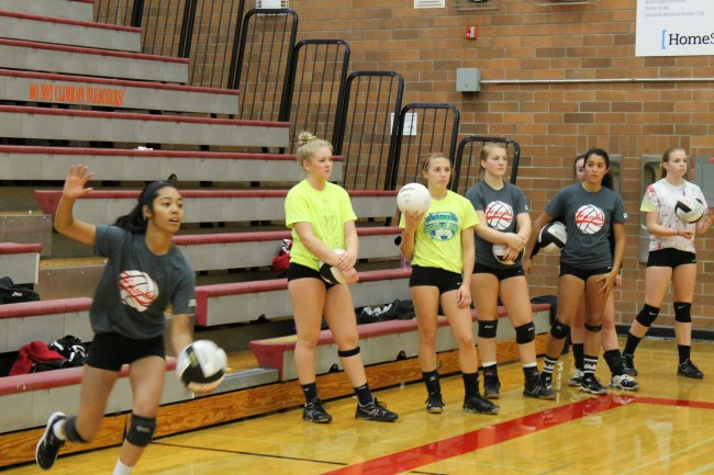 There are plenty of new faces on the Mountlake Terrace squad this year, including Gabreille Calhoun (far left).