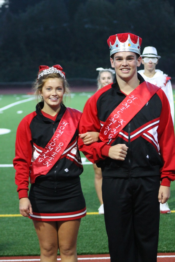 Seniors Mackenzie Gardner (left) and Joey Owens served as Queen and King for this year's Homecoming celebrations at Mountlake Terrace High School. (Photo by Doug Petrowski)