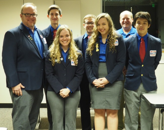 On Nov. 10, the Edmonds School District Board recognized the five students and two advisors that represented Mountlake Terrace High School at the 2015 National TSA Conference in Dallas, Texas, last June: (from left to right) advisor Todd Johnston, Connor Ebright, Haeley Johnston, Liam Madson, Kathleen Cram, advisor Mark Burbank, Jonathan Thiem.