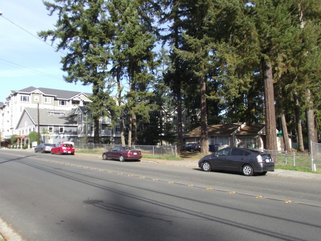 City approval has been given for a planned three-story mixed-use building at 23713-56th Avenue West, currently a wooded lot just south of the Arbor Village Apartments (far left) in Mountlake Terrace.
