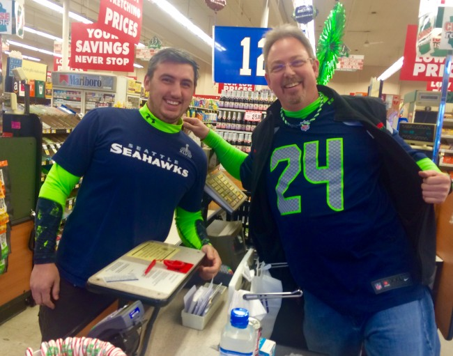 Joseph and Fred show their Seahawks pride as Seattle (9-5) plays at home against the St. Louis Rams (6-8) Sunday.