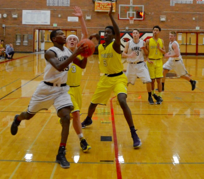Derek Anymiah heads to the basket Wednesday. (Photos by Teresa Wippel)