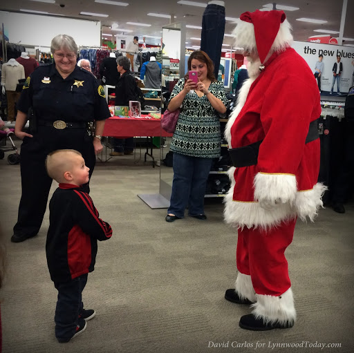 Youngsters greeting Santa at the Alderwood Target.