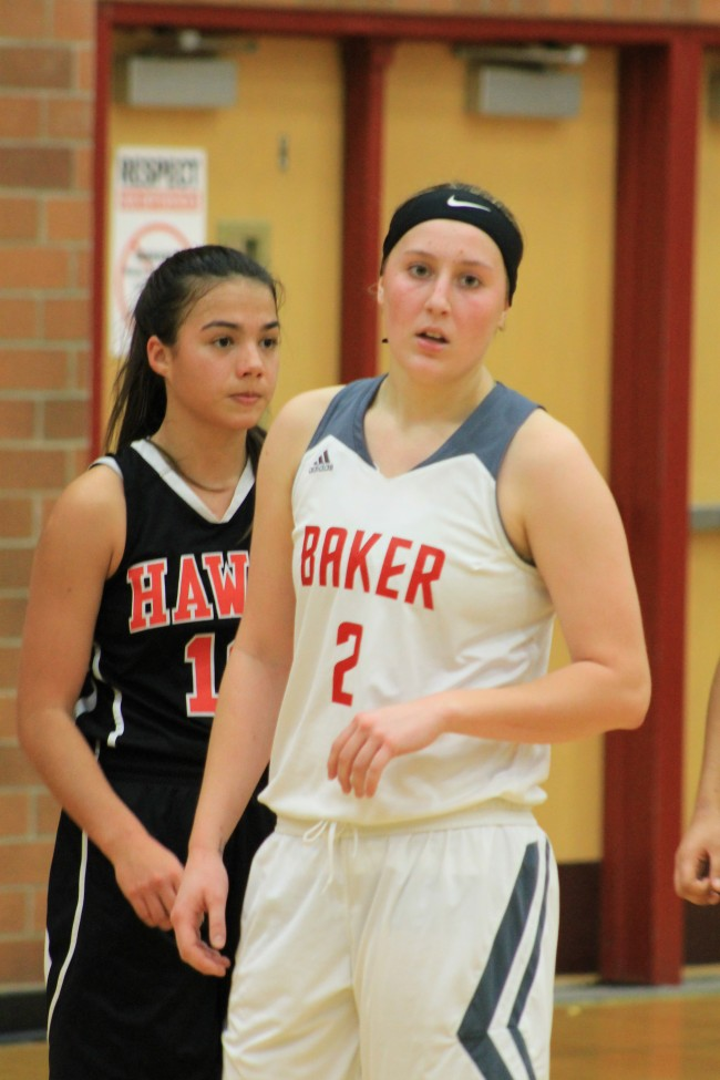 Mountlake Terrace tried a number of defenses against Mt. Baker's Emily Brandland (right), including a box-and-1 zone with Claire Zucker (left) manning Brandland. But Brandland still scored 28 points to lead the Mountaineers to a victory over the Hawks. (Photo by Doug Petrowski)