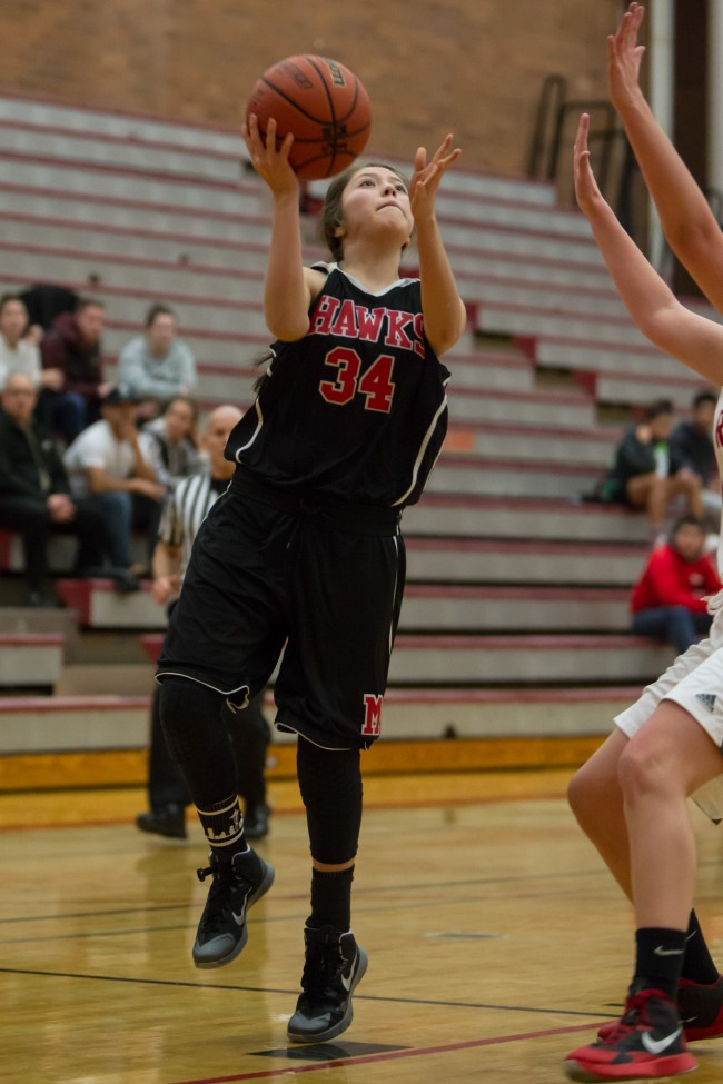 Freshman Nohea Morrison came off the bench to lead the Hawks in scoring with 11 points Wednesday night in a 53-26 loss to the Mount Baker Mountaineers. (Photo by Jonah Wallace)