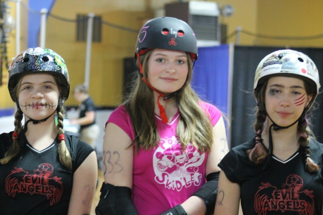 BTMS students (from left to right) Anna Nelson, Alex Bates and Anna Springberg are members of the Seattle Derby Brats, a junior flat track derby organization for girls 17-years-and-younger.