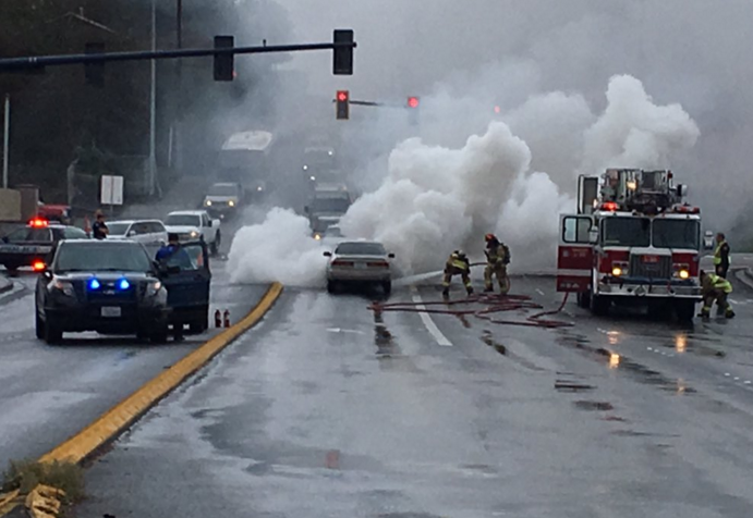 Car fire causes traffic delays on Highway 99 at 244th Street