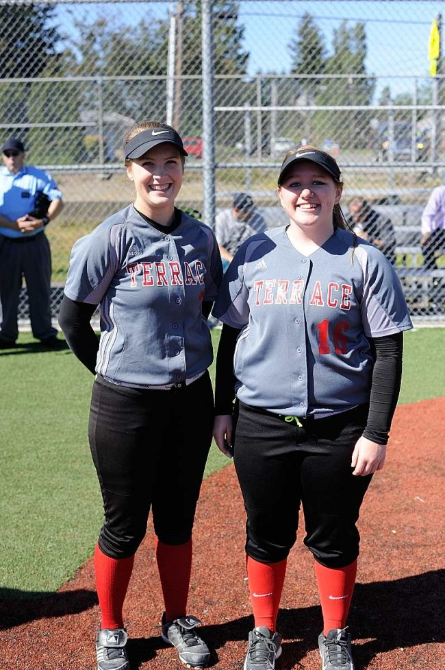 fter recognizing Mountlake Terrace's Mountlake Terrace seniors Lauren Miller and Ashley Fitzgerald were recognized as part of Edmonds-Woodway's senior day ceremony prior to Monday's game. (Photo by Karl Swenson)