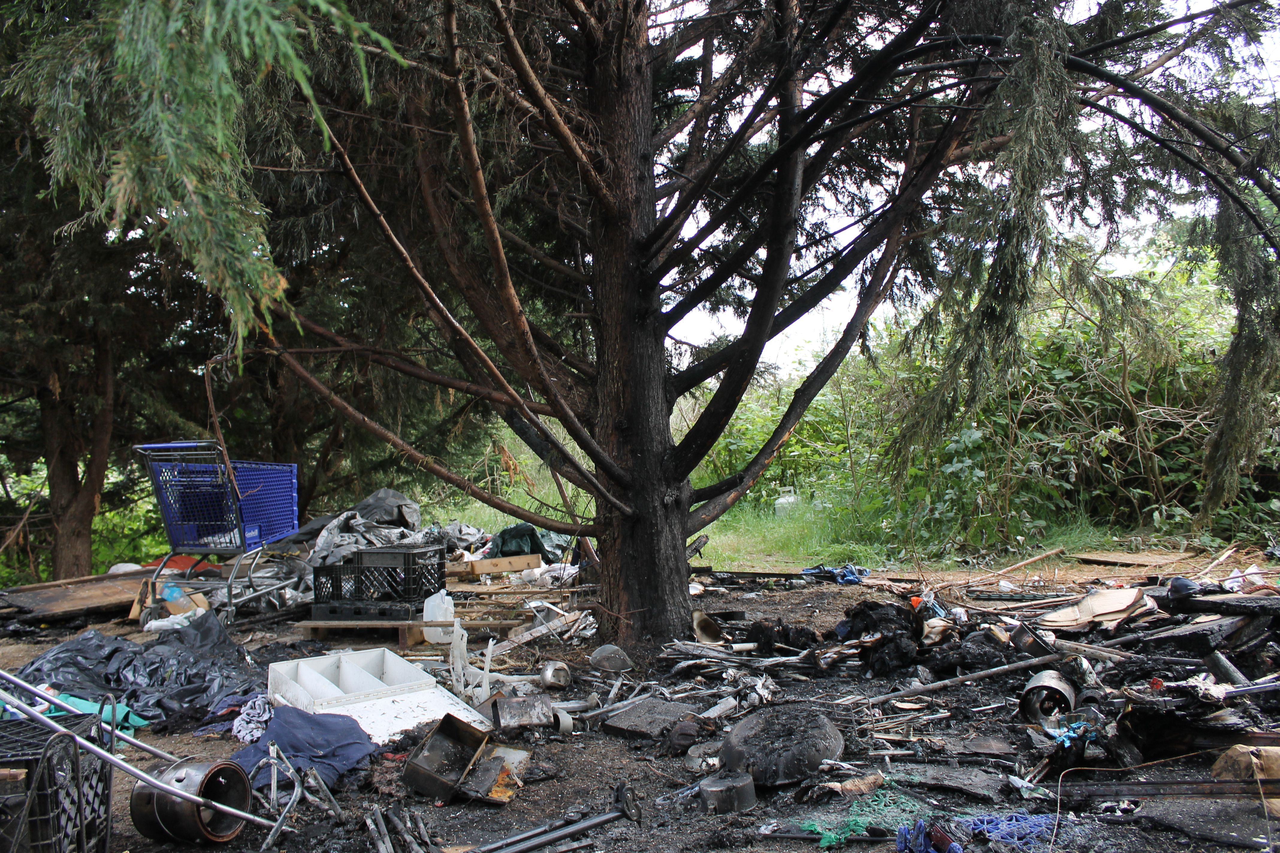 Homeless encampment site of fire, May 31 011