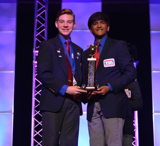 BTMS Cole Johnston 2nd place trophy at National TSA