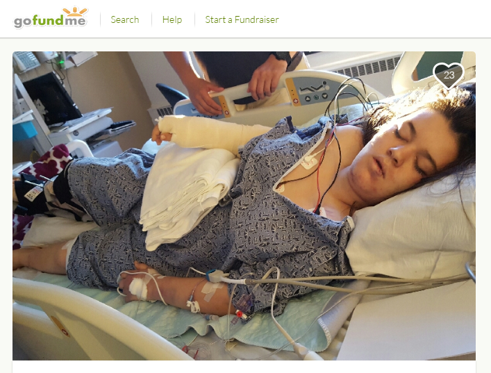 This photo of Javanna Ensslin in the hospital is posted on the Go Fund Me page raising money for her care.