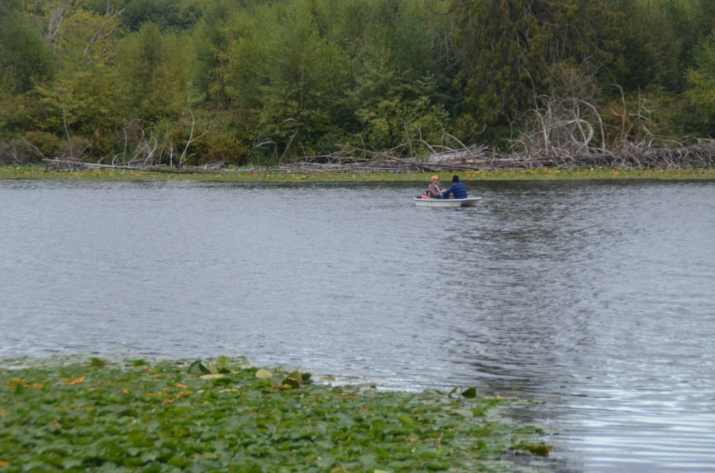 Two fishermen fish from a small boat on Lake Ballinger on Saturday evening. (Photo by Natalie Covate)
