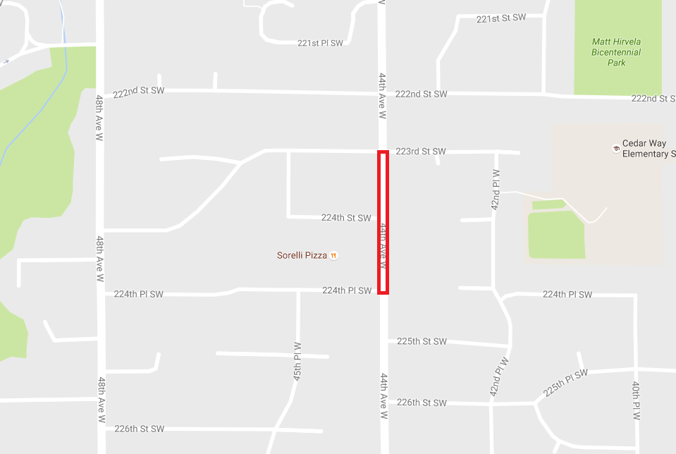 A section of 44th Avenue West between 223rd Street Southwest and 224th Place Southwest will be closed periodically through Thursday.