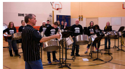 A steel orchestra class.