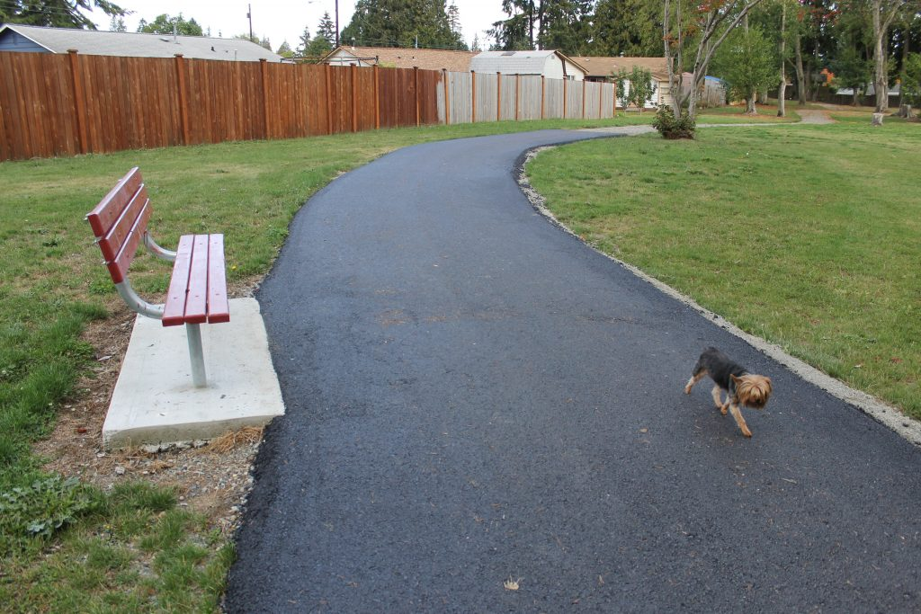 Park-goers, both human and canine, can now tour parts of Matt Hirvela Bicentennal Park in Mountlake Terrace on a paved path, thanks in part to a $5,000 grant from the Snohomish County Small Capital Projects Partnership Grant program.