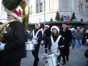 Left to right, Andy Kutsy, Miranda Schlicke and E-W Band Director Jake Bergevin.