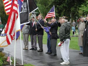 American Legion Post 66 and Veteran of Foreign Wars Post 8870 participate in the presentation of colors during the 2010 Memorial Day ceremony.