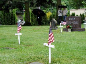Graves of veterans at the Edmonds Cemetery.