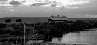Edmonds scenic: The ferry in black and white