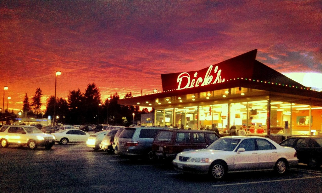 Edmonds Dick's Drive-in at sunset. (Photo by David Carlos)