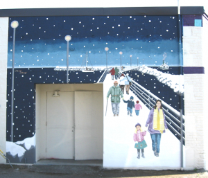 Final mural of summer 39 winter walk 39 completed my for Edmonds mural society