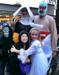 Halloween costumes on display during last year's trick-or-treat event in downtown Edmonds. (Photo by Larry Vogel)