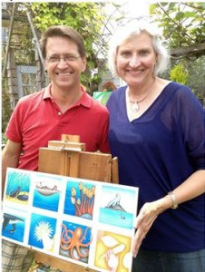 Author Kizzie Jones, right, with illustrator Scott Ward and images from the award-winning book.