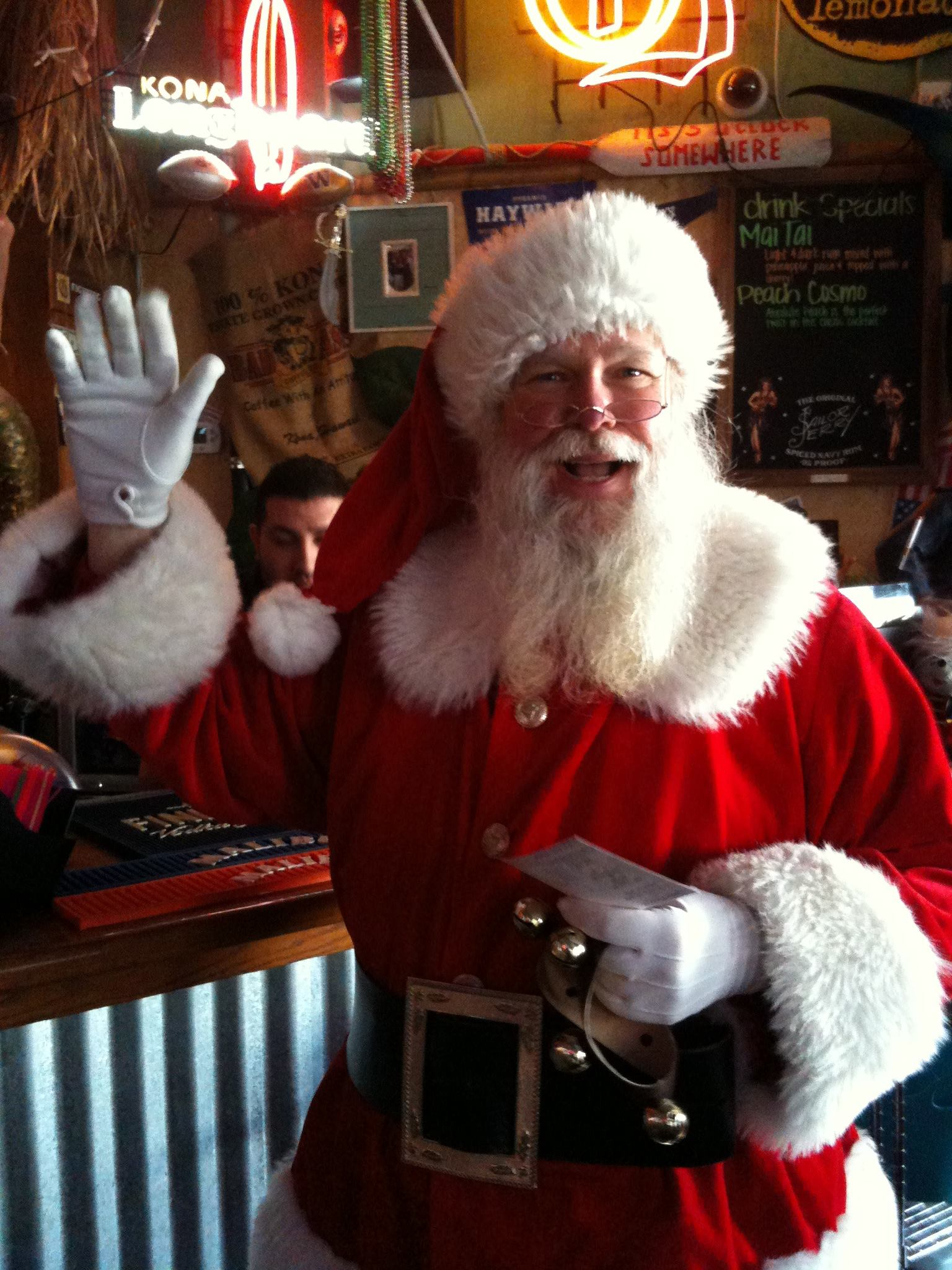 "David Carlos spotted Santa Claus at Edmonds' Taki Tiki Saturday night, but advises: ""Don't tell Mrs. Claus."""