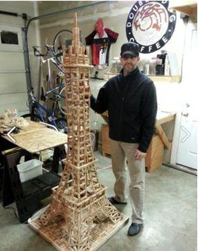 "Kris Muhlestein finishes his ""cork"" Eiffel Tower for EdCC Foundation Gala."