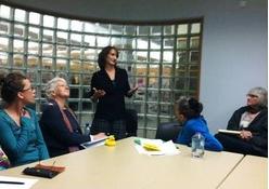 EPIC writers listen to NaNoWriMo instructor Kim Votry.