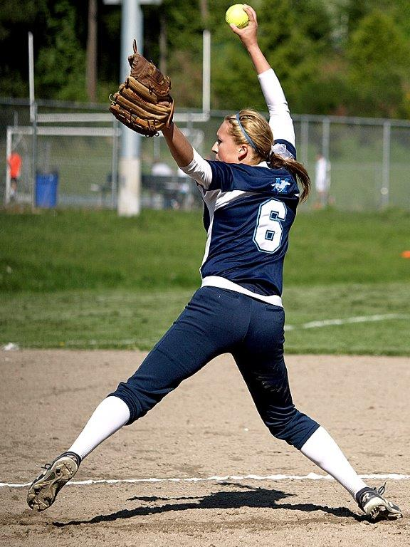 Alyssa Reuble on the mound for Meadowdale Tuesday. (Photos by Char Blankenship)
