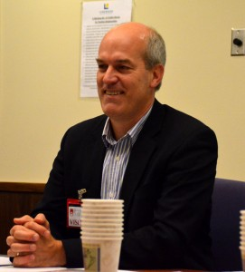 Rep. Rick Larsen listens as city officials brief him on alternatives and impacts of the planned extension of Sound Transit's Link Light Rail from Northgate to Lynnwood.