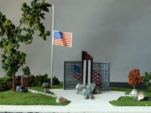 A model on display at Fire Station 17 shows what the 9/11 memorial would look like.