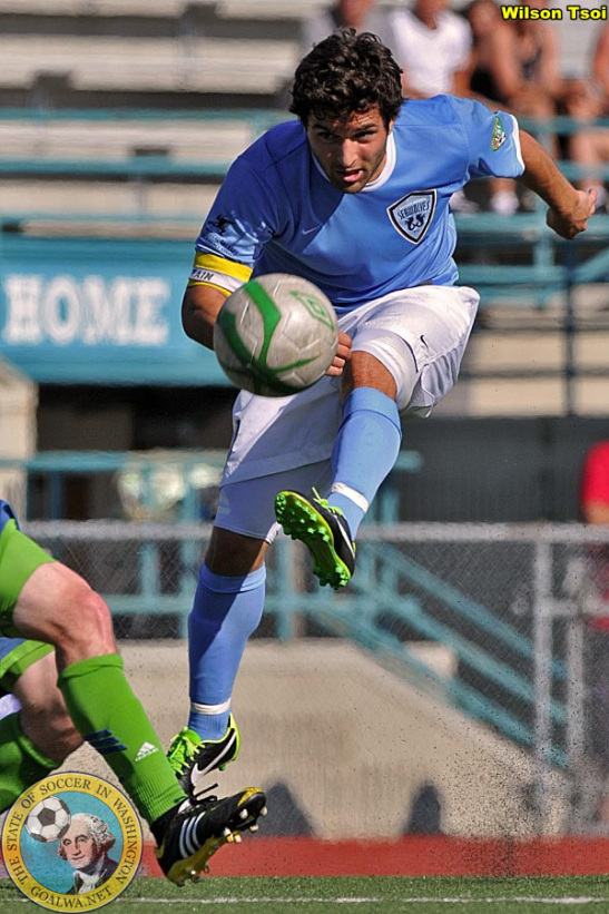 The SeaWolves' Brad Jacobson scoring against the U-23 Sounders July 4. (Photo by ©Wilson Tsoi/goalWA.net)