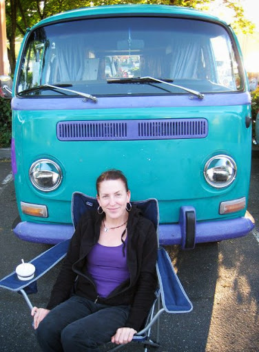 More vintage VWs from the Kombi Club: Jennie Heib with Little Magic.