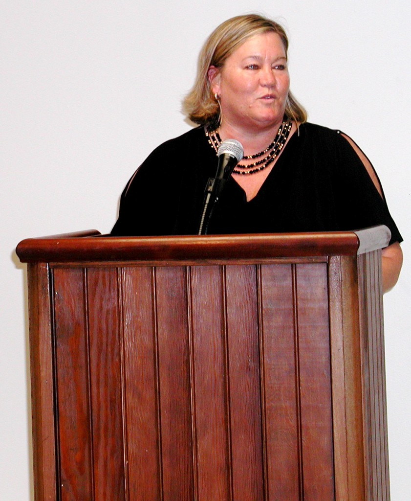 Edmonds City Councilmember Adrienne Fraley-Monillas speaks to supporters Monday night.