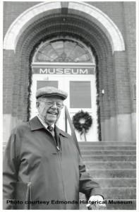 Doug Egan standing on steps of Museum, Feb. 15, 1989.