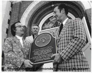 National Historic Register plaque dedication, Ralph Mackey, LeRoy Middleton & Ronald Whaley, 1974.