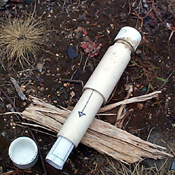 An example of a homemade geocache container made out of PVC pipe from geocaching.com.