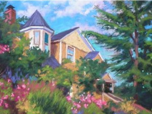 """Cheryl Hufnagel's pastel painting, """"Stately"""" was pronounced the winner of the Plein Air Edmonds Poster Contest, and will be the image representing all Plein Air events."""