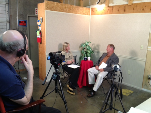 Teresa Wippel interviewing a candidate for Lynnwood City Council earlier this summer.