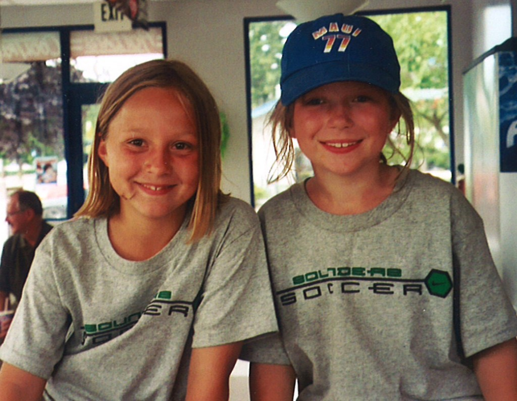 Amy and Rebecca at a soccer camp in 2004.