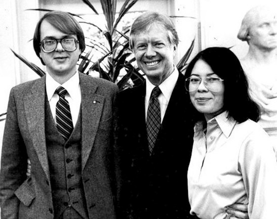 Mark Lijek and wife Cora pose with President Jimmy Carter after their return to the U.S. When Islamic militants took over the embassy and captured most of the embassy staff in 1979, they and a small group of other Foreign Service officers escaped and sought refuge with the Canadian diplomats.