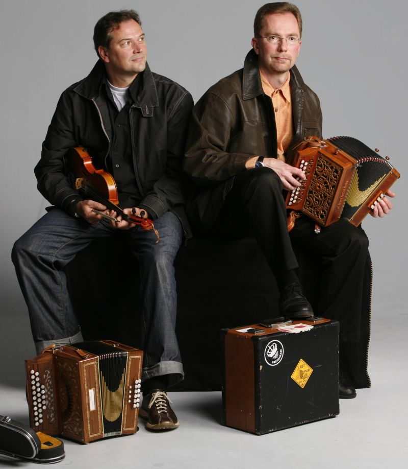 Finnish folk musicians Pekka Pentikäinen (accordion) and Perttu Paappanen (fiddle)