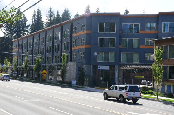 The Compass Apartment on Edmonds Way are an example of kind of development the proposed zoning changes would avoid. The proposed changes mandate lower building heights, increased setbacks, and provide incentives for developers to include public spaces and walkways at street level, benches and other amenities, a minimum number of affordable units for low-income citizens, and more.