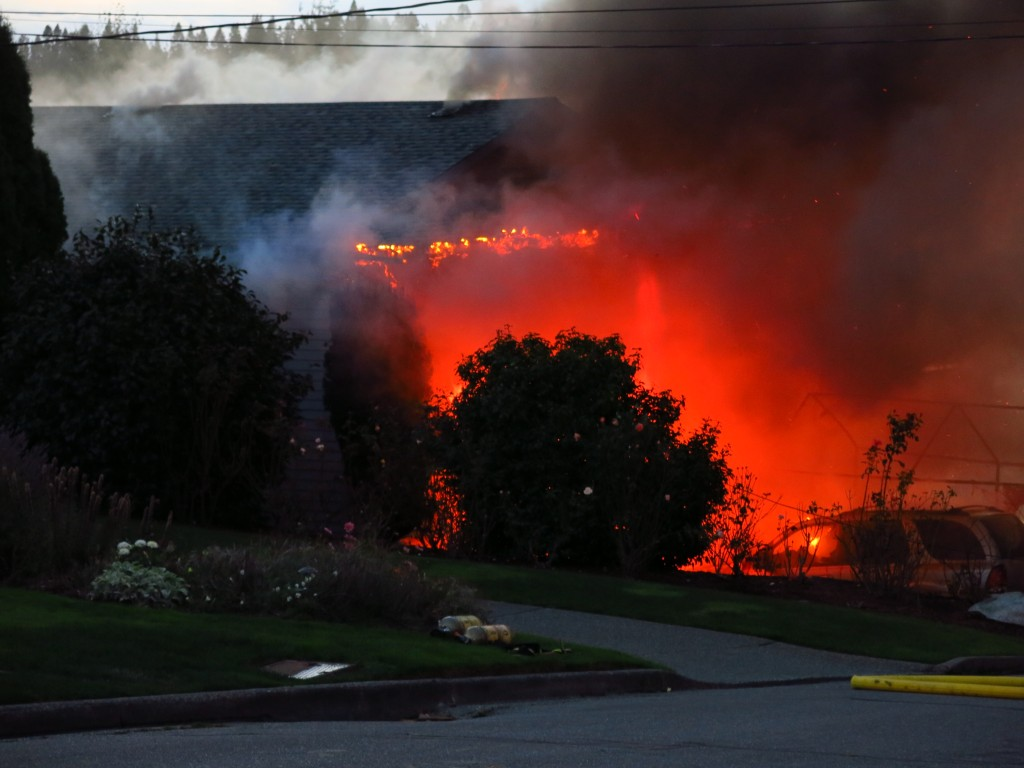 The house fully engulfed in flames. (Photo by Martin Proudfoot)