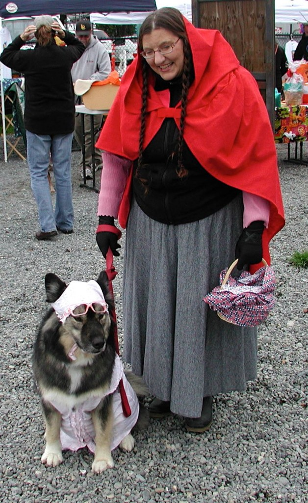 Best owner and dog combination: Little Red Riding Hood and the Big Bad Wolf, shown here in grandmother garb.